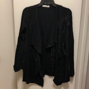 Zara Knit Black Fringe Sweater Cardigan, Medium